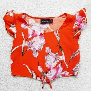 913c3e16feded MINKPINK (XS) Floral Front Tie Crop Top